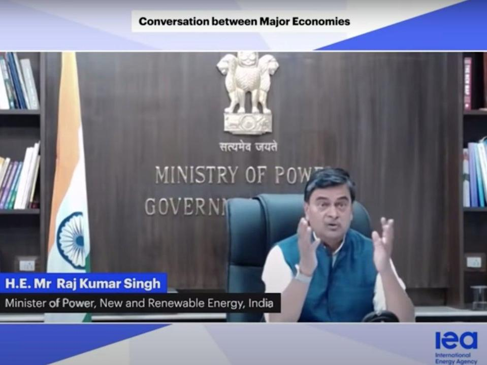 India's energy minister RK Singh speaking at IEA event last week where he asked richer countries to take responsibility of their carbon footprintsScreengrab/IEA
