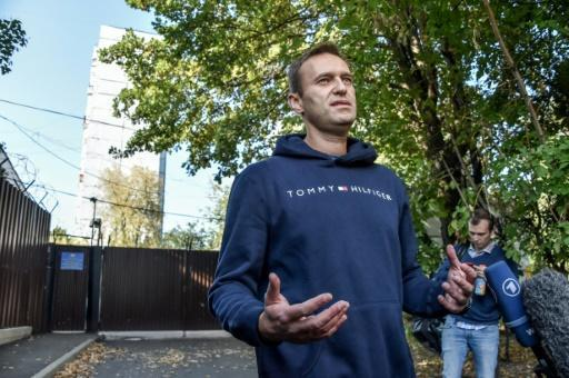 Russian opposition leader Alexei Navalny, pictured in August after leaving a Moscow detention centre
