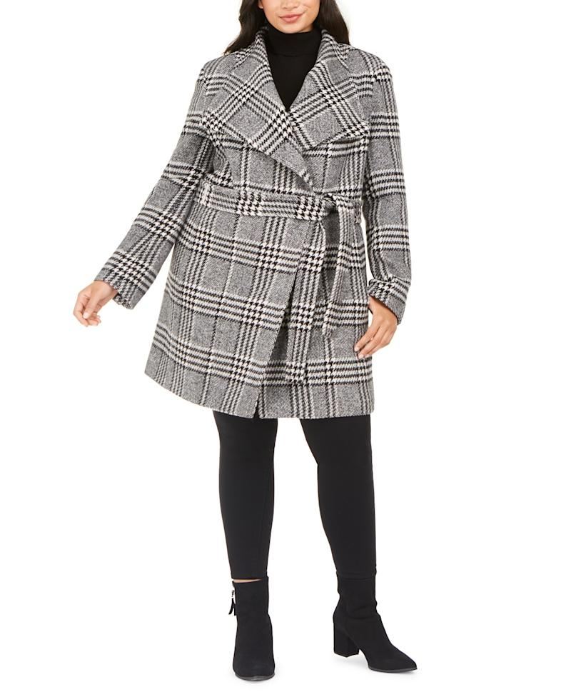 Calvin Klein Belted Asymmetrical Coat. (Photo: Macy's)