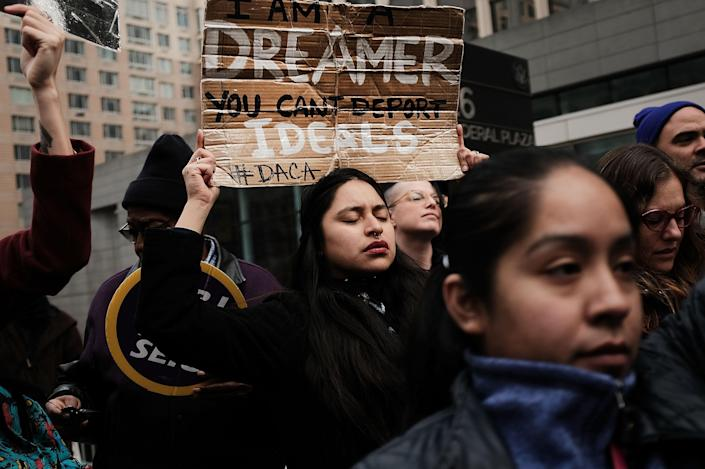 <p>Demonstrators, many of them recent immigrants to America, protest the government shutdown and the lack of a deal on DACA (Deferred Action for Childhood Arrivals) outside of Federal Plaza on Jan. 22, 2018 in New York City. (Photo: Spencer Platt/Getty Images) </p>