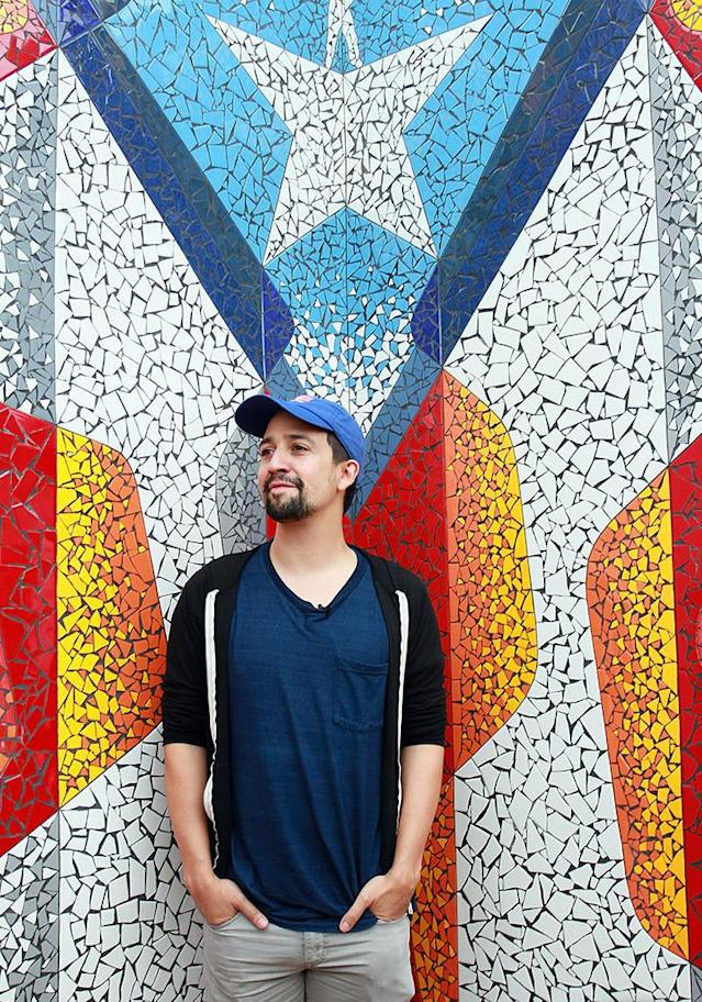 "<p>The <em>Hamilton</em> star unveiled this stunning Puerto Rican flag art at La Placita de Güisin in Vega Alta, Puerto Rico. In October, Miranda wrote and recorded a <a href=""https://www.yahoo.com/music/lin-manuel-miranda-releases-star-161210562.html"" data-ylk=""slk:new song to help raise money for hurricane recovery efforts;outcm:mb_qualified_link;_E:mb_qualified_link"" class=""link rapid-noclick-resp newsroom-embed-article"">new song to help raise money for hurricane recovery efforts</a> in Puerto Rico. (Photo: Gladys Vega/Getty Images) </p>"