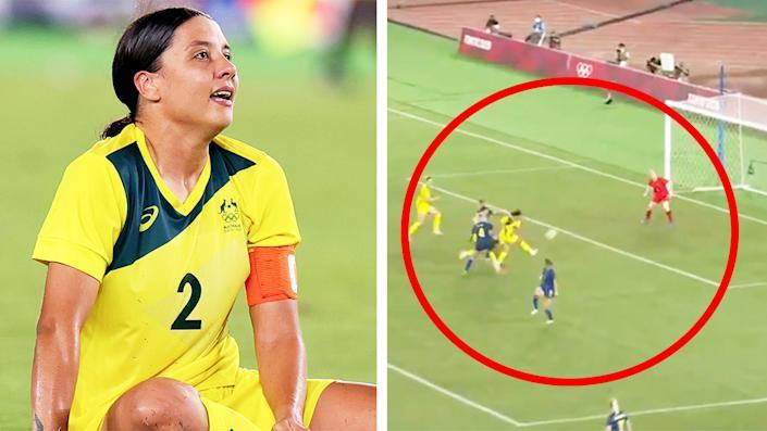 Seen here, Sam Kerr looks shattered after a goal was disallowed against Sweden.