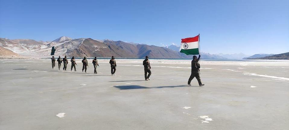 The ITBP personnel marched with the Tricolour on a frozen water body to mark India's 72nd Republic Day.