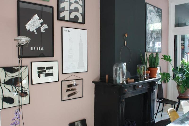 A stylish contrast of pale pink and matte black is used creating a warm yet playful dining space in Theo-Bert Pot's home: Theo-Bert Pot from Thenicestuffcollector.com
