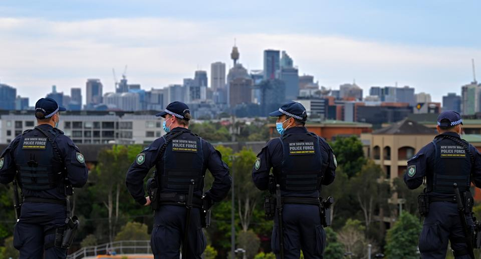 NSW police patrol the city on Saturday ahead of expected 'freedom' rallies.