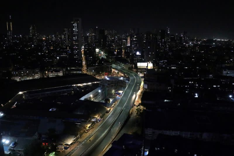 View shows an almost empty road during a lockdown to limit the spread of the coronavirus disease in Mumbai
