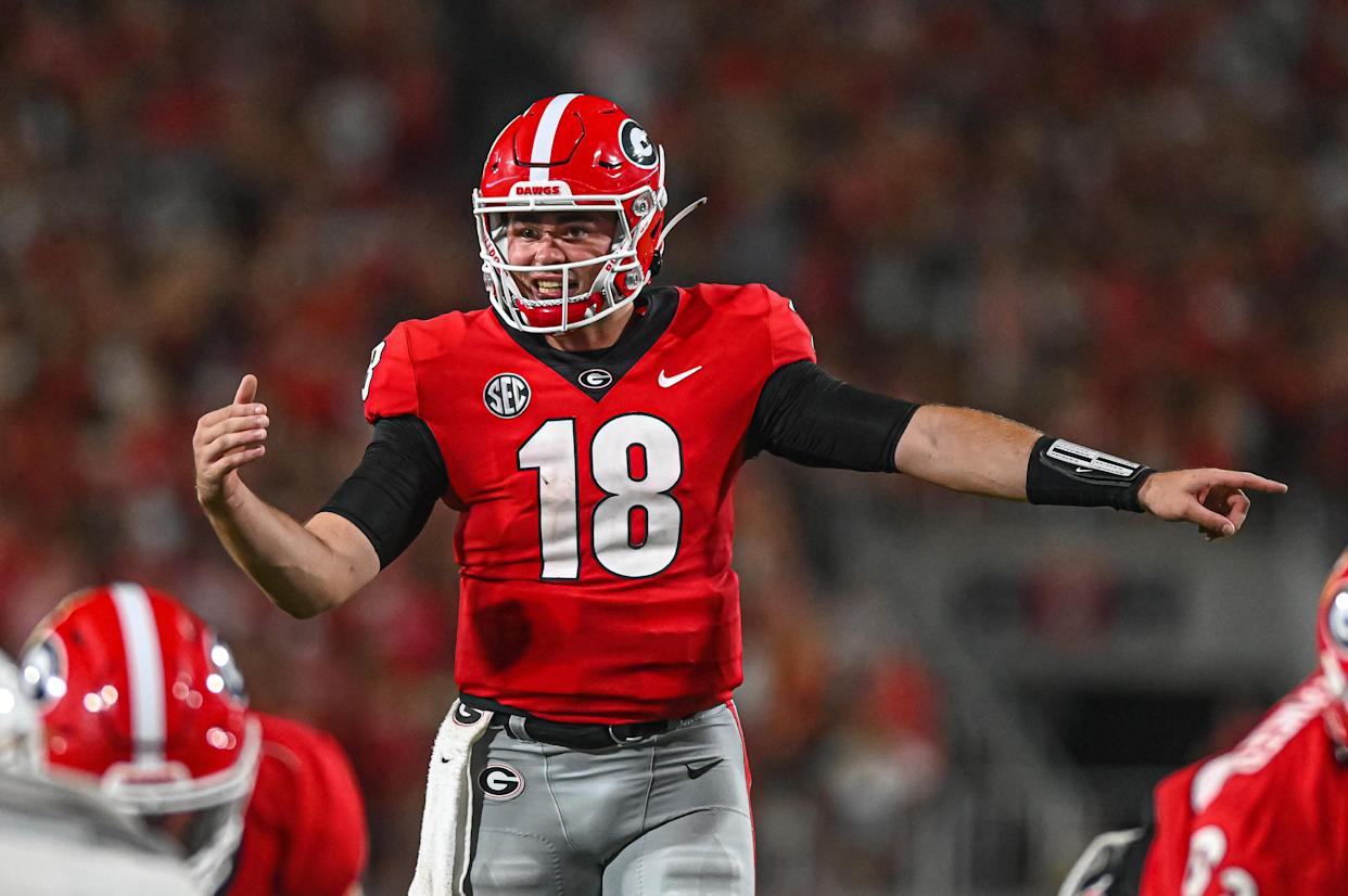 Georgia quarterback JT Daniels has a great matchup this weekend against a stout Arkansas defense. (Photo by John Adams/Icon Sportswire via Getty Images)