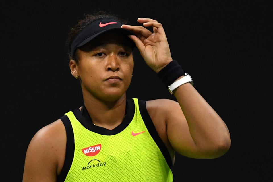 Pictured here, Japan's Naomi Osaka reacts with disappointment during her 2021 US Open defeat.