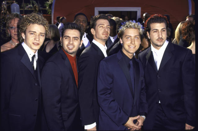 'NSync — Justin Timberlake, Chris Kirkpatrick, JC Chasez, Lance Bass and Joey Fatone — at the 2000 Academy Awards. (Photo: Mirek Towski/DMI/The LIFE Picture Collection via Getty Images)