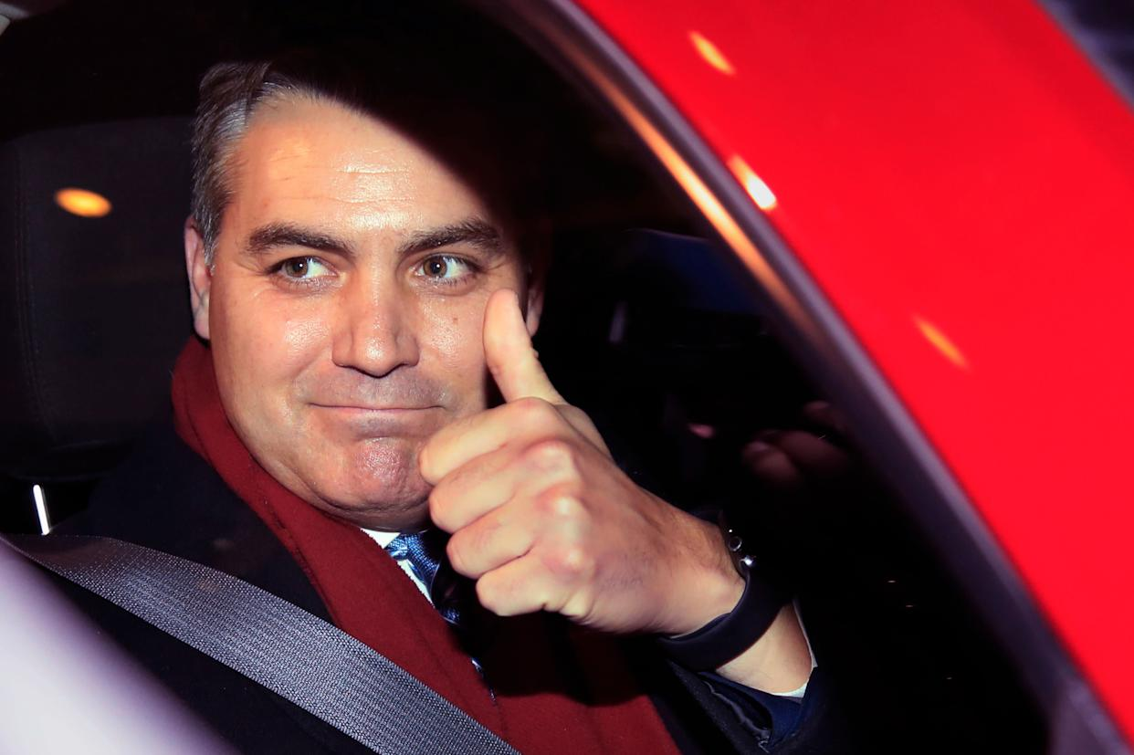 Jim Acosta gives a thumbs up after a federal court appearance that resulted in the return of his White House press pass that the Trump administration had revoked last November. (Photo: ASSOCIATED PRESS)