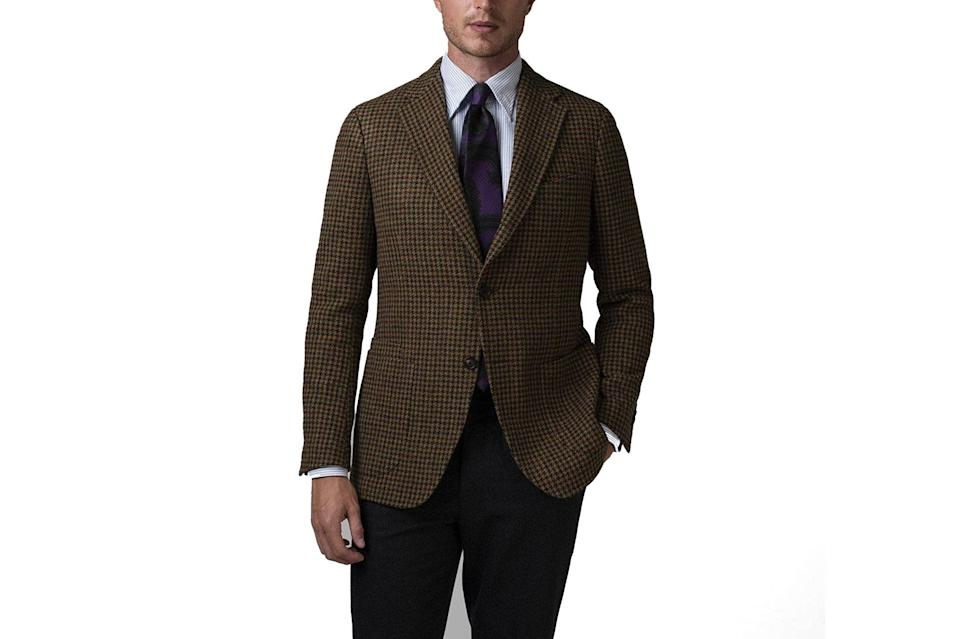 """A great sport coat can turn the simplest menswear pieces (see: white t-shirts, jeans) into moments of sartorial excellence. The key is finding the right jacket that will always get the job done. Drake's houndstooth take is right on the money.<br> <br> <em>Drake's houndstooth wool jacket</em> $1395, Drake's. <a href=""""https://www.drakes.com/usa/clothing/blazers/brown-green-and-burgundy-houndstooth-wool-jacket"""" rel=""""nofollow noopener"""" target=""""_blank"""" data-ylk=""""slk:Get it now!"""" class=""""link rapid-noclick-resp"""">Get it now!</a>"""