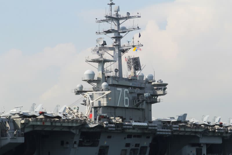 U.S. Navy aircraft carrier USS Ronald Reagan is seen during its visit to Hong Kong