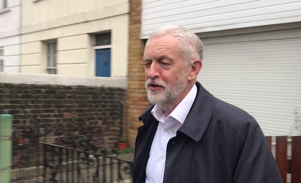 Jeremy Corbyn leaves his home in north London as speculation mounts that several Labour MPs could be about to quit the party. (Photo by PA/PA Images via Getty Images)