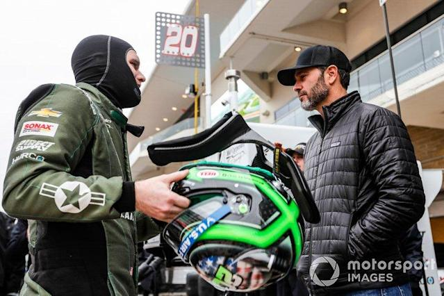 """Conor Daly, Ed Carpenter Racing Chevrolet gets a visit from 7 time NASCAR Champion Jimmie Johnson <span class=""""copyright"""">Phillip Abbott / Motorsport Images</span>"""