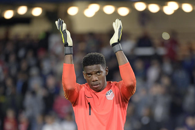 United States goalkeeper Sean Johnson (1) applauds after a win over Ecuador in an international friendly soccer match Thursday, March 21, 2019, in Orlando, Fla. (AP Photo/Phelan M. Ebenhack)