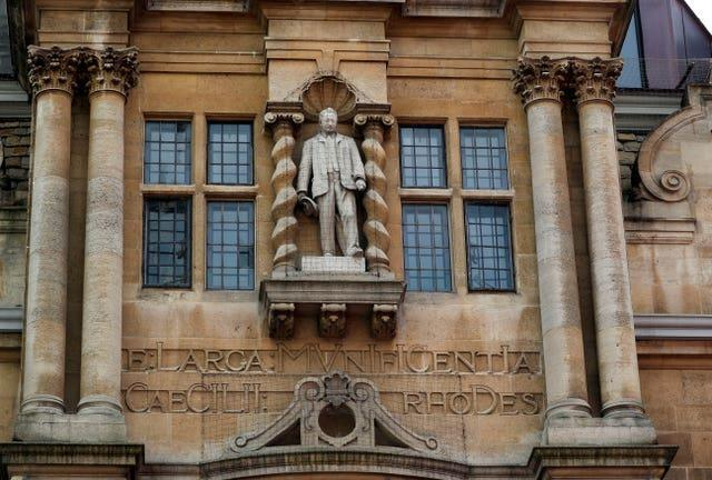 The controversial statue of colonialist Cecil Rhodes at Oriel College, University of Oxford (Steve Parsons/PA)