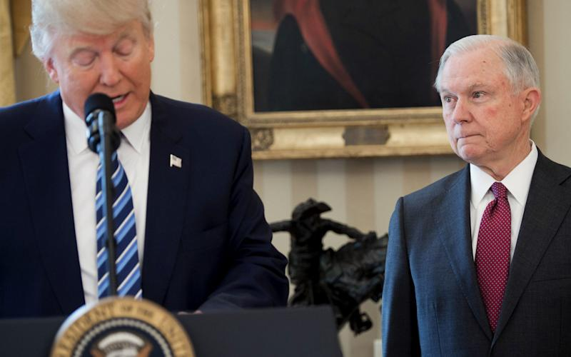 Jeff Sessions, the attorney general, was forced to step down by Donald Trump, triggering renewed concern over the Russia investigation - AFP