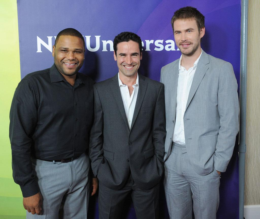 """Anthony Anderson, Jesse Bradford, and Zach Cregger (""""Guys with Kids"""") at the NBC Universal Summer 2012 Press Tour at The Beverly Hilton Hotel on July 24, 2012 in Beverly Hills, California."""