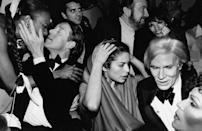 <p>Celebrities during New Year's Eve party at Studio 54 in 1978: (L-R) Halston, Bianca Jagger, Jack Haley, Jr. and wife Liza Minnelli and Andy Warhol.</p>