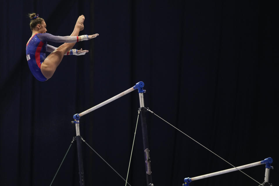 Grace McCallum competes on the uneven bars during the women's U.S. Olympic Gymnastics Trials Friday, June 25, 2021, in St. Louis. (AP Photo/Jeff Roberson)