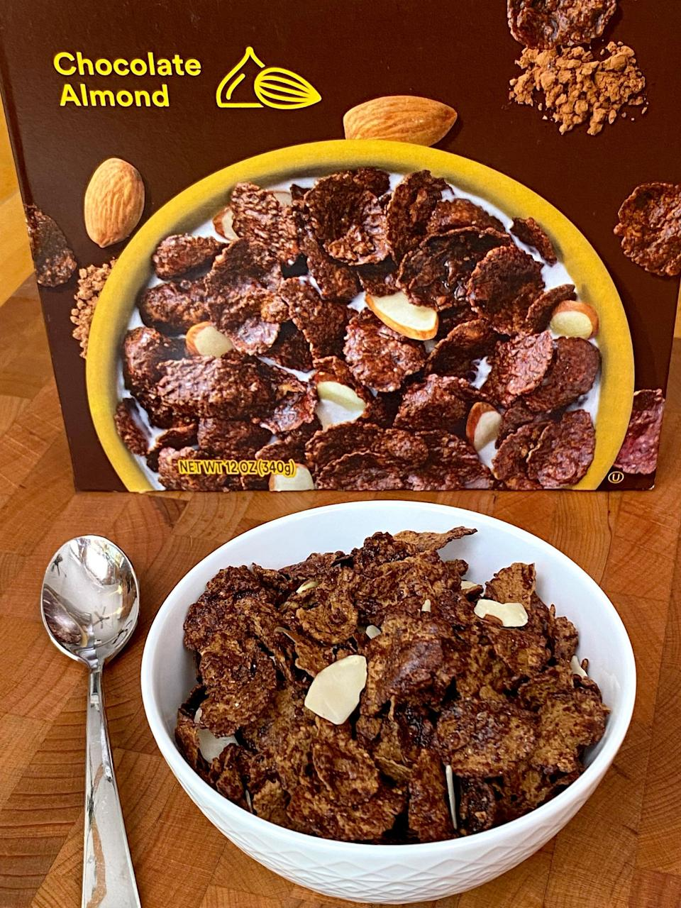 <p>Full of robust chocolatey flavor, this Chocolate Almond RX Cereal is perfectly sweet, and has a satisfying crispy-crunch. There are tons of sliced almonds mixed throughout the thick, textured flakes, and I was pleasantly surprised how much the cereal looked like the photo on the box. Even after soaking in soy milk for several minutes, the flakes didn't lose their delightfully firm crunch.</p>