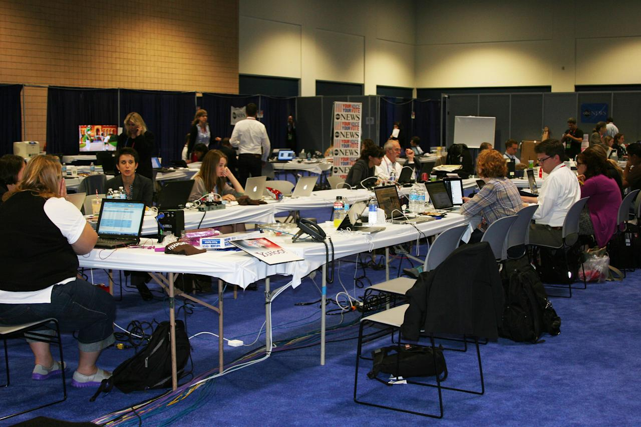 Yahoos hard at work at our ABC News/Yahoo! News workspace at the media filing center a short distance from the Republican National Convention forum, Tuesday Aug. 28, 2012. (Torrey AndersonSchoepe/Yahoo! News)