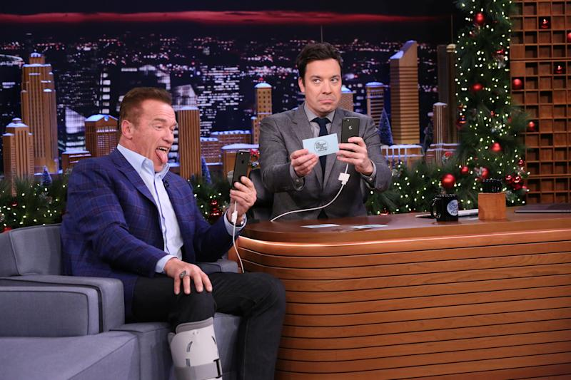 THE TONIGHT SHOW STARRING JIMMY FALLON -- Episode 0591 -- Pictured: (l-r) Actor Arnold Schwarzenegger and host Jimmy Fallon have a Snapchat Interview on December 14, 2016 -- (Photo by: Andrew Lipovsky/NBCU Photo Bank/NBCUniversal via Getty Images via Getty Images)