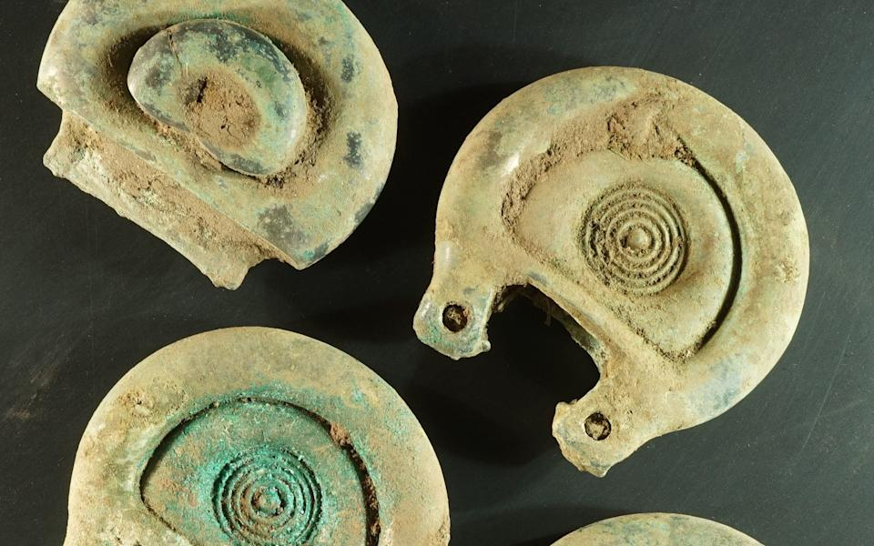 The pieces are believed to be decorative and functional pieces of a Bronze Age harness. - PA/Crown Office Communications