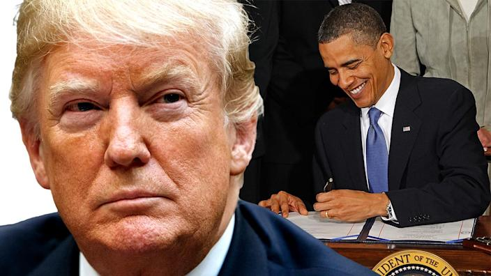 President Trump; President Barack Obama signs the Affordable Health Care for America Act in 2010. (Photo illustration: Yahoo News; photos: AP, Chip Somodevilla/Getty Images)