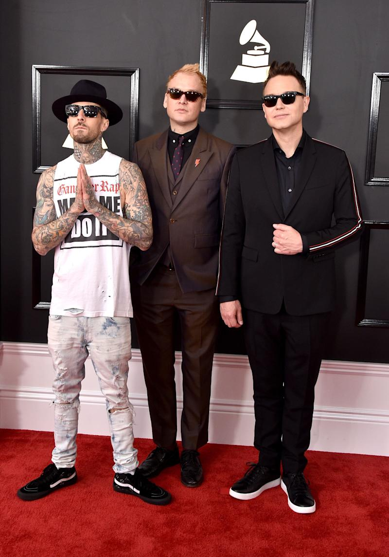 LOS ANGELES, CA - FEBRUARY 12: (L-R) Recording artists Travis Barker, Matt Skiba, and Mark Hoppus of music group blink-182 attend The 59th GRAMMY Awards at STAPLES Center on February 12, 2017 in Los Angeles, California. (Photo by John Shearer/WireImage)