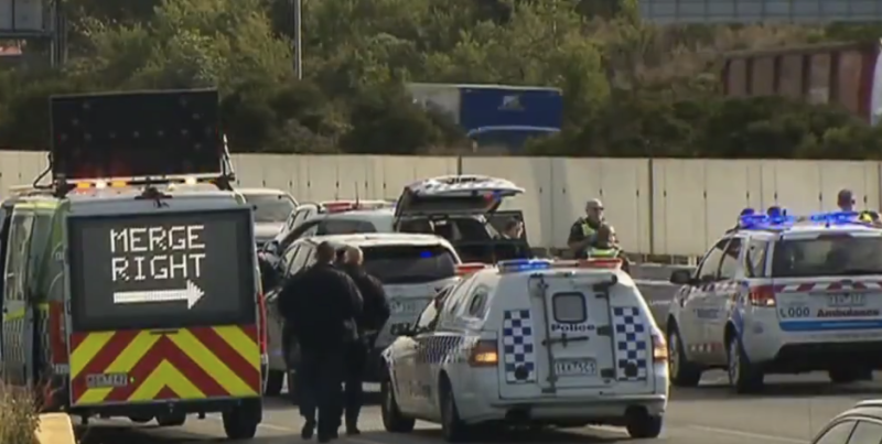Police vehicles at the scene of the shooting. Source: 7News