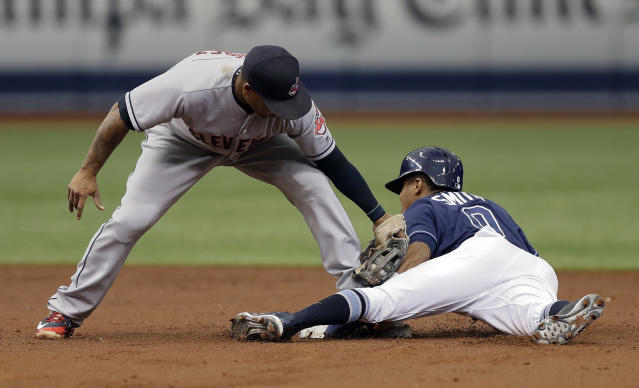 Tampa Bay Rays' Mallex Smith, right, steals second base ahead of the tag by Cleveland Indians second baseman Jose Ramirez during the third inning of a baseball game Wednesday, Sept. 12, 2018, in St. Petersburg, Fla. (AP Photo/Chris O'Meara)