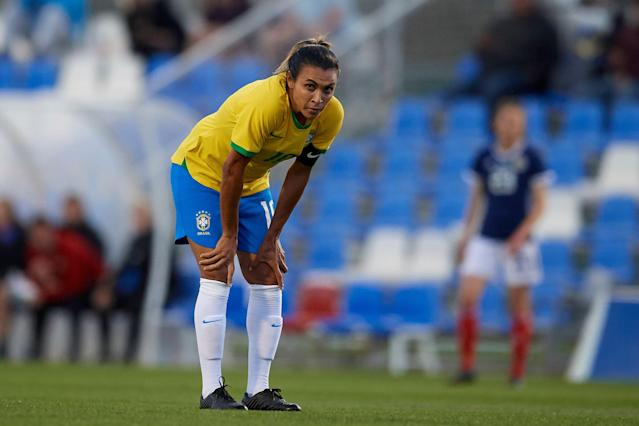 Brazil star Marta still hasn't recovered from a left thigh injury. (Getty)