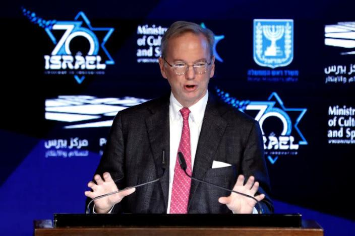 FILE PHOTO: Former Google Chief Executive Eric Schmidt speaks during the opening event of The Prime Minister's Israeli Innovation Summit in Jerusalem