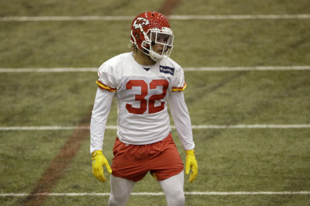 Kansas City Chiefs strong safety Tyrann Mathieu watches a drill during practice for Sunday's NFL AFC championship football game Thursday, Jan. 16, 2020 in Kansas City, Mo. The Chiefs will face the Tennessee Titans for the opportunity to advance to the Super Bowl. (AP Photo/Charlie Riedel)