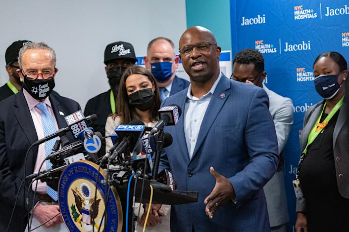 Representative Jamaal Bowman, a Democrat from New York, speaks during a news conference in the Bronx borough of New York, U.S., on Thursday, June 3, 2021. (Jeenah Moon/Bloomberg via Getty Images)