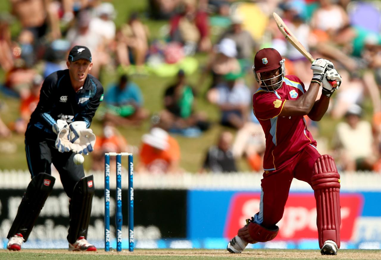 HAMILTON, NEW ZEALAND - JANUARY 08: Kirk Edwards of the West Indies bats during game five of the One Day International Series between New Zealand and the West Indies at Seddon Park on January 8, 2014 in Hamilton, New Zealand.  (Photo by Phil Walter/Getty Images)