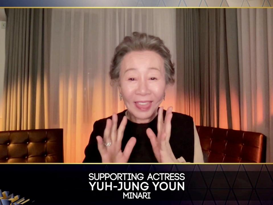 Yuh-Jung Youn accepting the award for Supporting Actress (BAFTA)