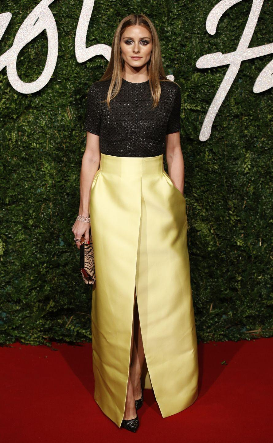 <p>In her pale-yellow Emilia Wickstead skirt and dark knit top, Olivia Palermo channeled the fairest princess of them all at the 2014 British Fashion Awards. </p>