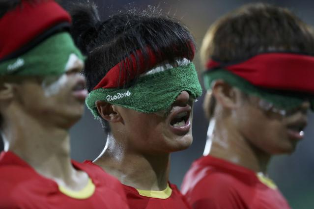 2016 Rio Paralympics - Football Soccer - Men's 5-a-side Preliminaries Pool B - China v Mexico - Olympic Tennis Centre - Rio de Janeiro, Brazil - 11/09/2016. From left, Gao Kai, Wei Jiansen and Wang Zhoubin (CHN) of China in action. REUTERS/Ueslei Marcelino FOR EDITORIAL USE ONLY, NOT FOR SALE FOR MARKETING OR ADVERTISING CAMPAIGNS.