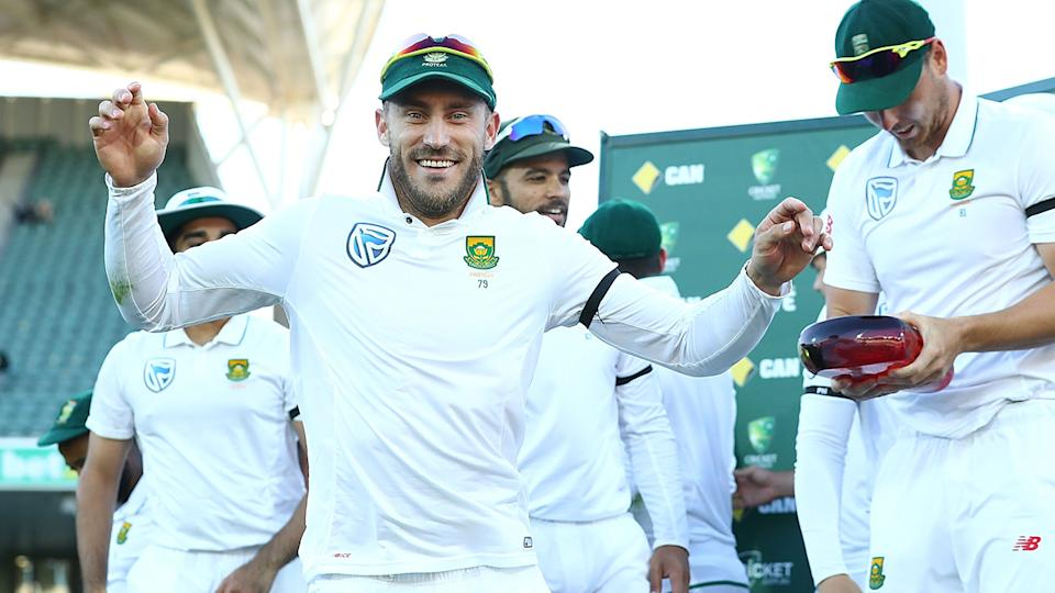 Faf du Plessis, pictured here after a Test match against Australia in 2016.