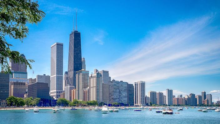 Chicago downtown skyline and the blue sky.