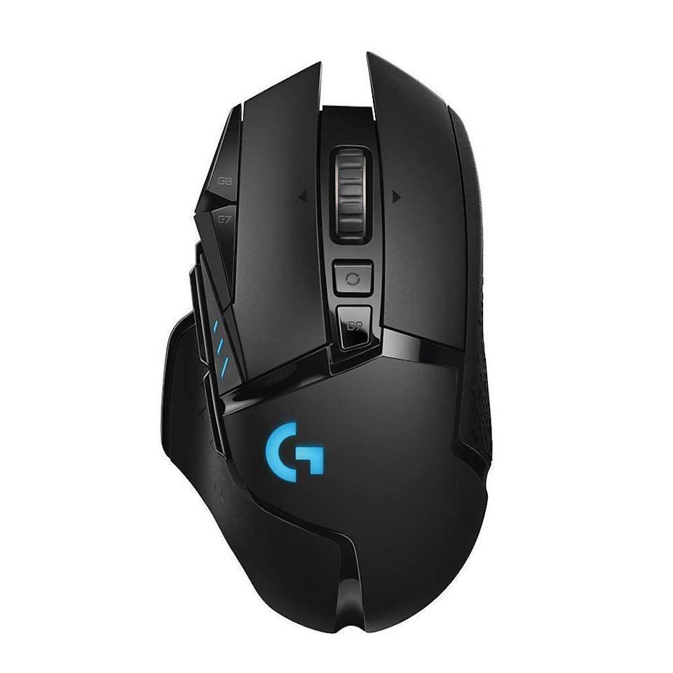 """<p><strong>Logitech</strong></p><p>amazon.com</p><p><strong>$197.95</strong></p><p><a href=""""https://www.amazon.com/dp/B07L4BM851?tag=syn-yahoo-20&ascsubtag=%5Bartid%7C2089.g.864%5Bsrc%7Cyahoo-us"""" rel=""""nofollow noopener"""" target=""""_blank"""" data-ylk=""""slk:Shop Now"""" class=""""link rapid-noclick-resp"""">Shop Now</a></p><p>The Logitech G502 Lightspeed wireless gaming mouse is an exciting take on one of the company's most legendary products. Thanks to a cutting-edge HERO 16K sensor, the accessory is capable of delivering pro-grade performance in both wireless and wired mode. </p><p>As expected, the gaming mouse has customizable buttons and lighting (via a software suite), as well as top-notch battery life. Best of all, gamers can charge the G502 Lightspeed wirelessly via an optional gaming pad, meaning they never have to deal with any cables.</p>"""