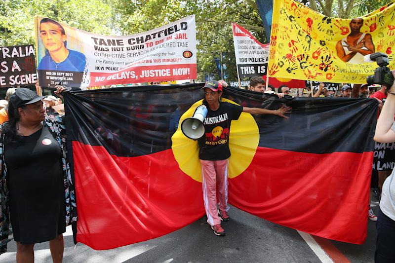 People march down Elizabeth St during the Invasion Day march on January 26, 2020 in Sydney, Australia. (Photo: Don Arnold/Getty Images)