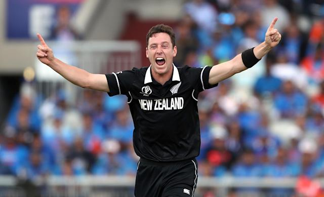 Matt Henry celebrates taking the wicket of Dinesh Karthik. (Credit: Getty Images)