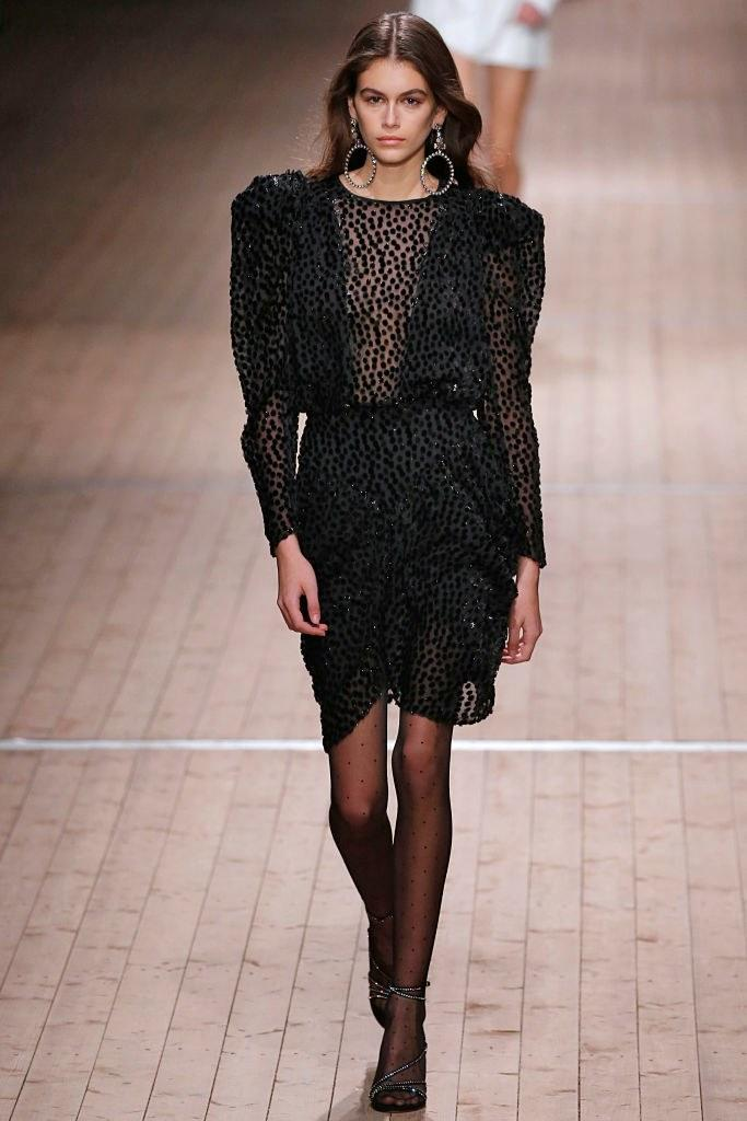 Kaia Gerber walks the runway during the Isabel Marant Fall 2018 fashion show as part of Paris Fashion Week on March 1, 2018 in Paris, France. Photo courtesy of Getty Images.