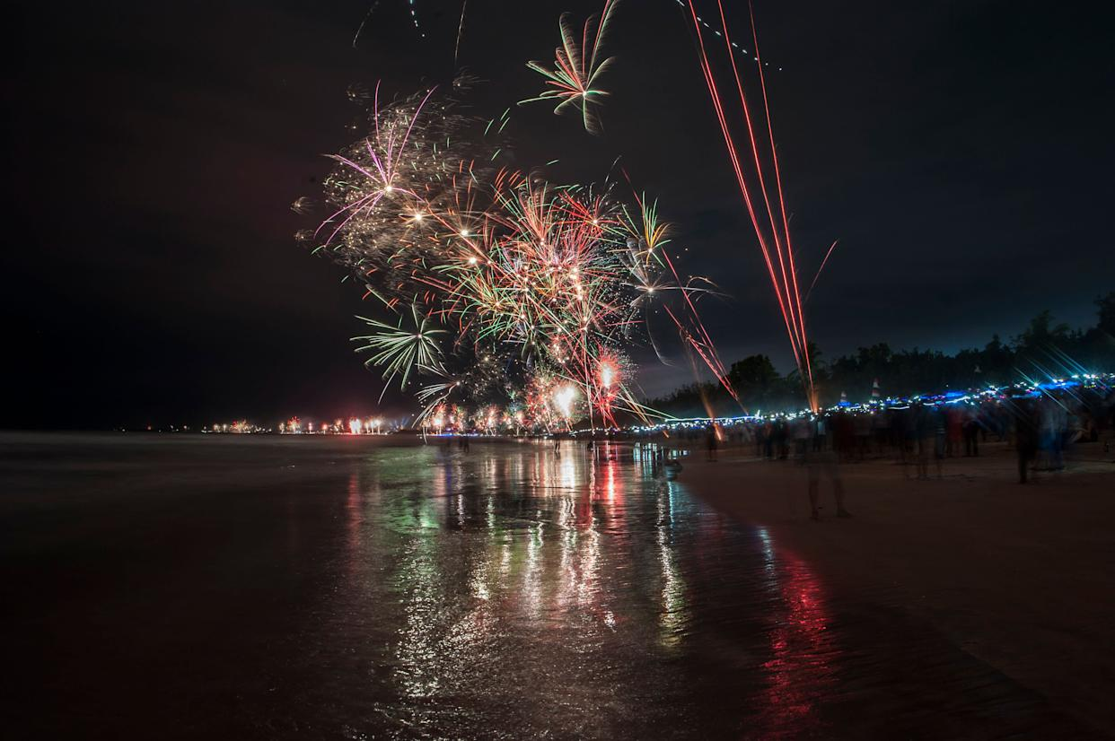 Festive fireworks welcome the new year at Kuta beach in Bali, Indonesia on January 1, 2018. (Photo: Barcroft Media via Getty Images)