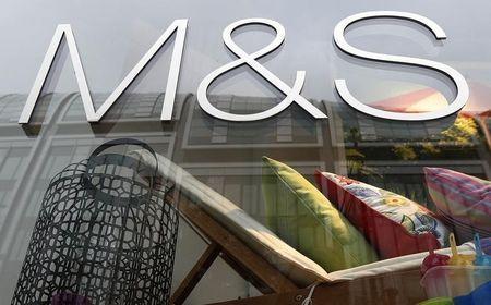 A window display is seen at a Marks & Spencer shop in central London