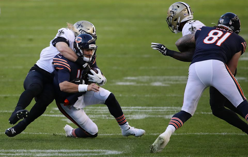 Mitchell Trubisky of the Chicago Bears is tackled by Alex Anzalone of the New Orleans Saints in Trubisky's lone play last week. (Photo by Jonathan Daniel/Getty Images)