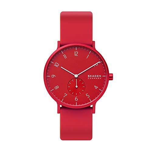 """<p><strong>Skagen</strong></p><p>amazon.com</p><p><strong>$55.98</strong></p><p><a href=""""https://www.amazon.com/dp/B07L6MQ1S8?tag=syn-yahoo-20&ascsubtag=%5Bartid%7C2139.g.36673991%5Bsrc%7Cyahoo-us"""" rel=""""nofollow noopener"""" target=""""_blank"""" data-ylk=""""slk:BUY IT HERE"""" class=""""link rapid-noclick-resp"""">BUY IT HERE</a></p><p>If you're not afraid of a little color, might we suggest this tomato red watch? It's also available in 14 other shades, like lime green and bright blue, and has a surprisingly sturdy silicone strap. Inspired by Copenhagen's vividly colored townhouses, this piece is a great way to liven up any outfit. <br></p>"""